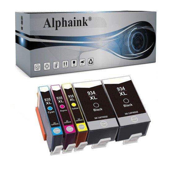 5 Cartucce HP 934-935XL Nero + Colore Compatibile