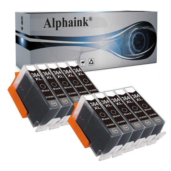 10 Cartucce Hp 364XL-BK Nera  CON CHIP Compatibile