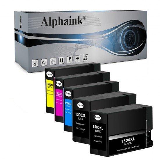 5 Cartucce Canon PGI1500 Nero + Colore Compatibile
