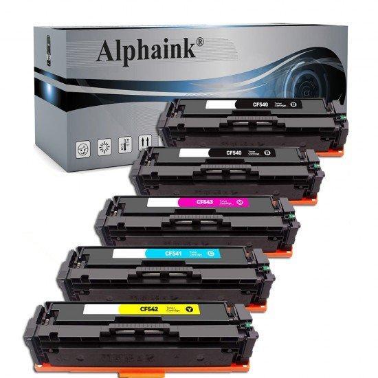 5 Toner HP CF540-3X Nero + Colore Compatibili