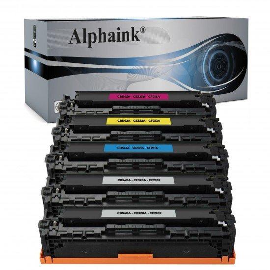 5 Toner HP CB540A-CE320-CF210X Nero + Colore Rigenerato