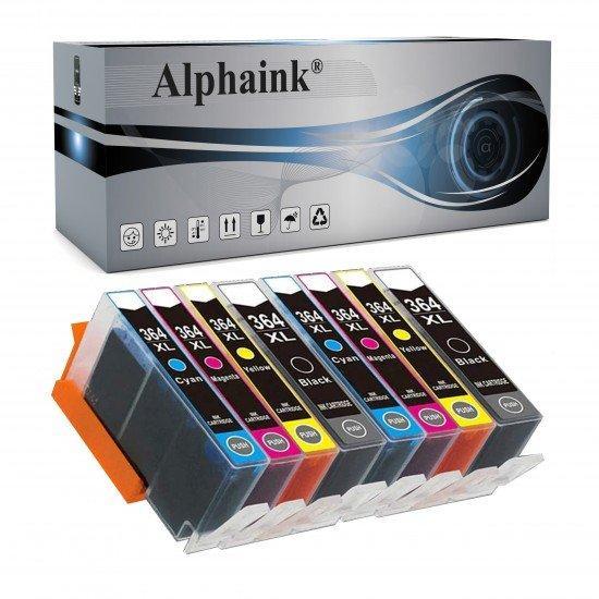 8 Cartucce HP 364XL Nero + Colore -  CON CHIP Compatibili